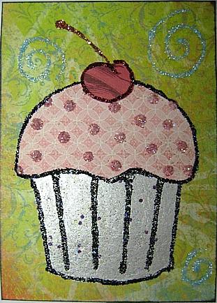 glittery cupcake atc