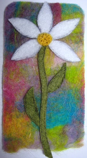 felt daisy bookmark